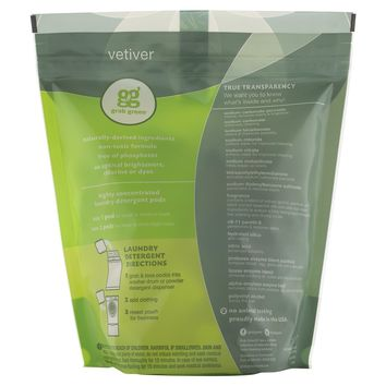 GRAB GREEN: 3-in-1 Laundry Detergent 60 Loads Biggie Pouch Vetiver, 2.4 Lb