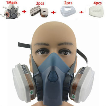 2016 new style brand 7502 9 Piece Suit Respirator Painting Spraying Face Gas Mask