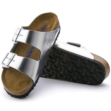Sale Birkenstock Arizona Soft Footbed Leather Metallic Silver 0752711/0752713 Sandals