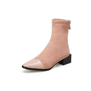 Pointed Toe Ankle Boots Square Low Heels Shoes 3793