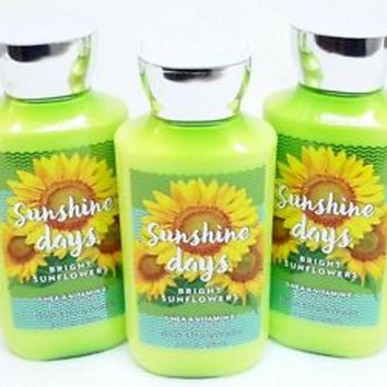 3 PACK Bath & Body Works SUNSHINE DAYS Bright Sunflowers Shea & Vitamin E Body Lotion
