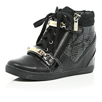 River Island Womens Black wedged high-top trainers