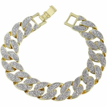 "Mens Frosted Glitter Miami Cuban Curb Link Gold Plated 8"" 15mm Hip Hop Bracelet"