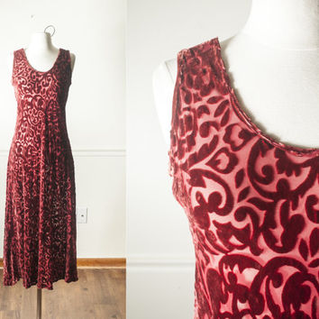 Vintage OXBLOOD Crushed Velvet Dress | Romantic Dress Sheer Dress Maxi Dress 90s Dress Goth Dress Grunge Dress Crimson Red Dress Boho Retro
