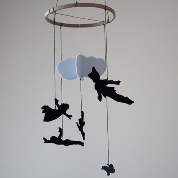 Peter Pan Inspired Baby Room Decor Nursery Felt Mobile