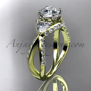 Unique 14kt yellow gold diamond wedding ring, engagement ring ADLR318