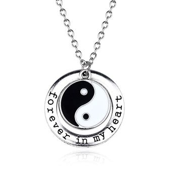 Best Friends Jewelry Yin Yang Tai Chi Pendant Necklaces Love Forever In My Heart Choker Necklace For Men Women Couple Gifts