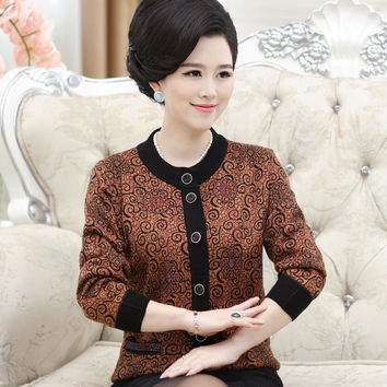 Fall and winter clothes Mothers clothing middle - aged women's wool coat big yards thick knit cardigan cashmere sweater jacket