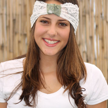 White Cream and Olive green Headband, Lace headband, Boho style, Elastic Headband, White Wide Headband, Turban Head Wrap, Hair Accessories