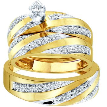 10kt Yellow Gold His & Hers Marquise Diamond Solitaire Matching Bridal Wedding Ring Band Set 3/4 Cttw