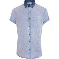 Blue acid wash Oxford shirt - short sleeve shirts - shirts - men