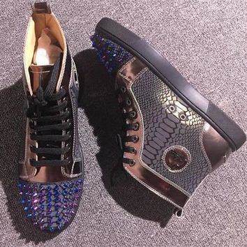 Cl Christian Louboutin Lou Spikes Style #2201 Sneakers Fashion Shoes