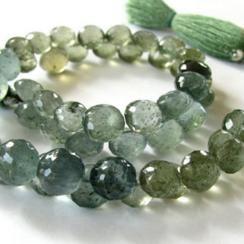 Moss Aquamarine Briolettes, Micro faceted onions, full strand (8k46a)