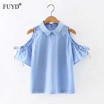 2017 Summer Short Sleeve Shirts For Women's Striped Peter Pan Collar Bow Tie Flare Sleeve Off Shoulder Tops Office Lady Blusas
