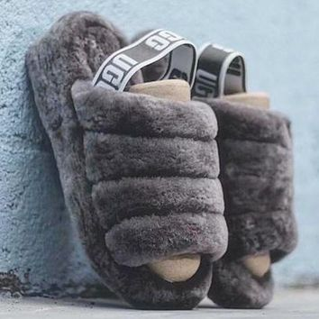 UGG Hight Quality New Slippers Warm And Fluffy  Women's Fashion Fluff Yeah Slipper Slide
