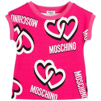ONETOW Moschino Baby Girls Pink Logo Hearts Dress