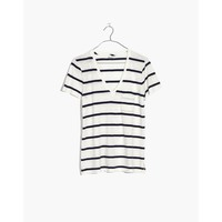 Whisper Cotton V-Neck Pocket Tee in Creston Stripe : shopmadewell short-sleeve tees | Madewell