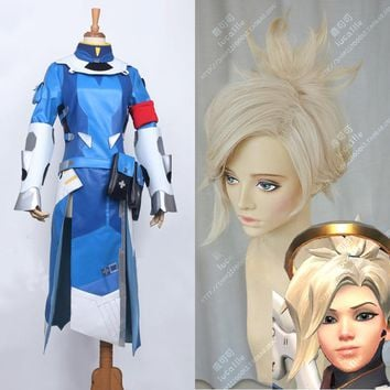 Game OW Angela Mercy Short Linen Blonde Ponytail Heat Resistant Cosplay Costume Wig