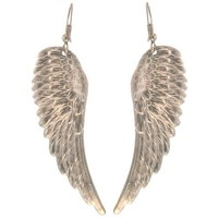 """2 1/2"""" Nickel Free Angel Wing Earrings, Quality Made in USA!, Large Earrings (2-1/2"""") in Silver Tone"""