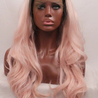 Ombre 2 Tone Grey Roots to Pink High Quality Heat Resistant Wavy Synthetic Lace Front Glue-less Wig