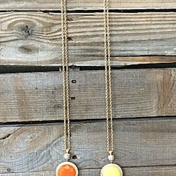 Long Gold Chain with Reversible Neon Orange or Neon Yellow Stone and Gold Tassel Necklace