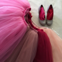 Ciara Pink Mauve Tulle Skirt, 6-Layers Puffy Tutu, Pink Swiss Tulle Princess Tutu, Below Knee Length Midi Tutu