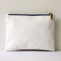 White vegan leather clutch