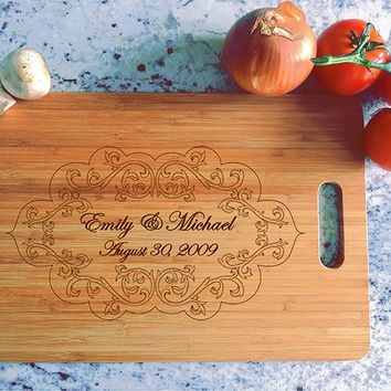ikb482 Personalized Cutting Board Wood wedding gift anniversary date names wooden wedding