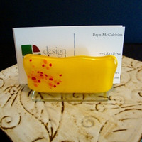 Marigold Fused Glass Business Card Holder