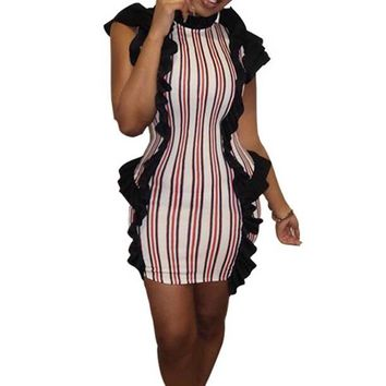 Striped Ruffles Stretch Bodycon African Dress