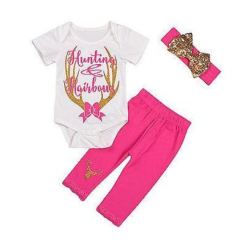Newborn Baby Girl Deer Romper+ Rose Red Pants + Sequins Headband Outfits Set Clothes