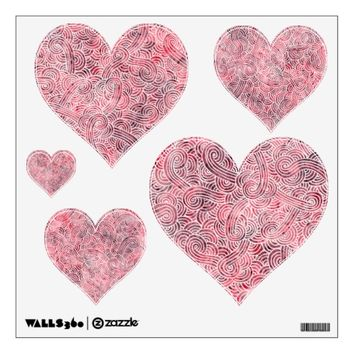Hearts wall decals - Red and white scrolls