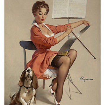 1957 DOGGONE GOOD poster 24X36 sexy PIN-UP GIRL playing SHOWS lingerie HOT!