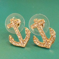 Rhinestone Anchor Earrings - Gold Earrings - Anchors