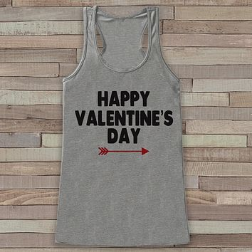 Womens Valentine Shirt - Cute Valentine's Day Tank Top - Women's Happy Valentine's Day Tank - Red Arrow Valentines Shirt - Grey Tank Top