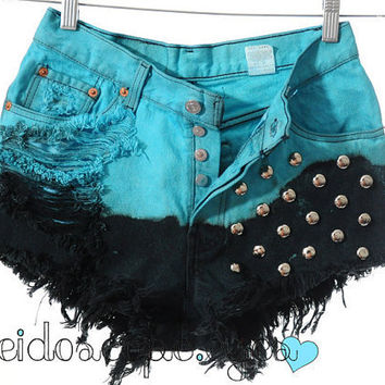 Vintage Levis 501 Ombre Dyed STUDDED High Waist Cut Off shorts S