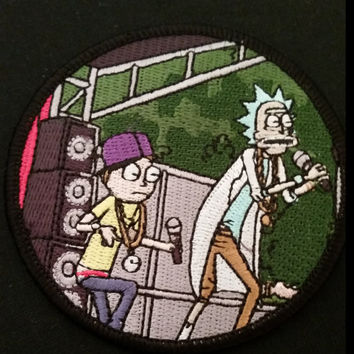 "Rick and Morty Tribute ""Get Schwifty"" / ""Recipe for Concentrated Dark Matter"" 3"" Embroidered Iron On Limited Patch"