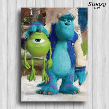 Sully and Mike Wazowski poster monsters inc art monster watercolor