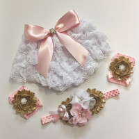 Pink Gold Baby Girl Bloomers & Headband - Diaper Covers For Girls, Cake Smash Photo Outfit, Ruffle Lace Diaper Cover, Baby Girl Outfits SET