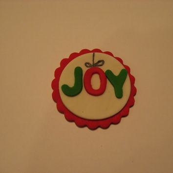 Add a little JOY this Holiday Season. Red & White background.set of 12 (1 dozen)