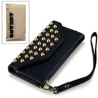 Black iPhone 5 Covert Branded Trendy Studded Rock Chic Purse Style Case / Cover / Pouch