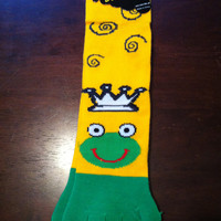 Frog with Crown Toe Socks on yellow
