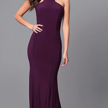 Long Prom Dress with Cut-In Shoulders