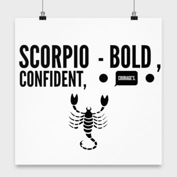 Zodiac Signs Poster White Scorpio - The Scorpion