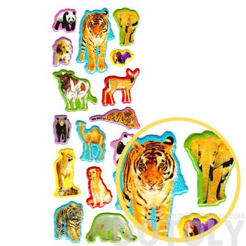 Colorful Tiger Camel Dog Cow Deer Shaped Animal Themed Photo Stickers for Kids