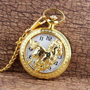 Dropshipping Gold Horse Hollow Steampunk Unique Quartz Pocket Watch FOB Chain Necklace Pendant Womens Men GIfts relogio de bolso
