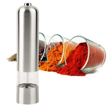 Stainless Gourmet Pepper & Salt Herb Mill Grinder Powered by batteries