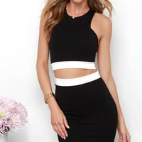 Evening in Monoch-Rome Black Two-Piece Dress