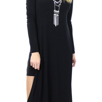 BCBGeneration | double layer long sleeve dress in black