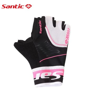 Santic Womens Short Sleeve Cycling Gloves Guantes Ciclismo Breathable Padded Outdoor Sports Motocross MTB Bicycle Gloves 6C09049
